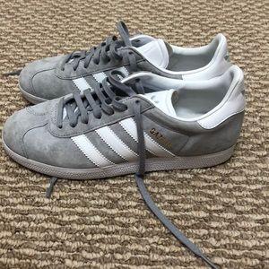 grey adidas gazelle athletic shoe